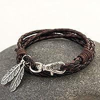 ERAWAN Fashion Leather Wrap Braided Wristband Cuff Punk Men Women Bangle Bracelet Gift EW sakcharn (Black+Coffee)