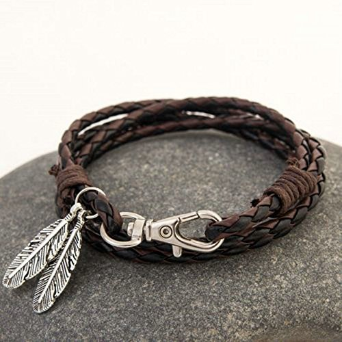 Price comparison product image ERAWAN Fashion Leather Wrap Braided Wristband Cuff Punk Men Women Bangle Bracelet Gift EW sakcharn (Black+Coffee)