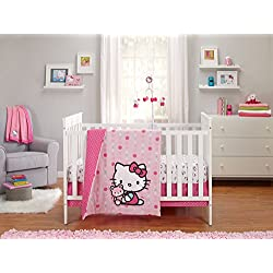 Sanrio Hello Kitty Cute as A Button 3 Piece Crib Bedding Set, Pink/White