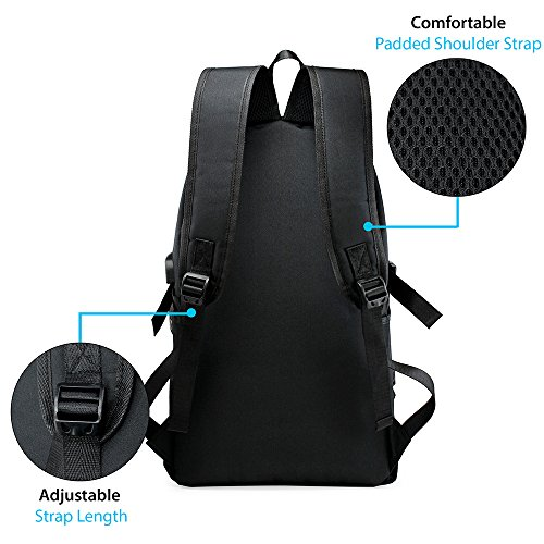 Oct17 Business Laptop Backpack, Slim Anti Theft Computer Bag, Water-resistent College School Backpack with Headphone Port, Eco-friendly Travel Shoulder Bag with USB Charging Port Fits UNDER 17 - Black by Oct17 (Image #5)