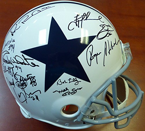 Dallas Cowboys Greats Autographed Throwback Full Size Authentic Helmet With 25 Signatures Including Roger Staubach, Emmitt Smith, Troy Aikman & Michael Irvin PSA/DNA Stock #103902 (Autographed Dallas Cowboys Authentic Helmet)
