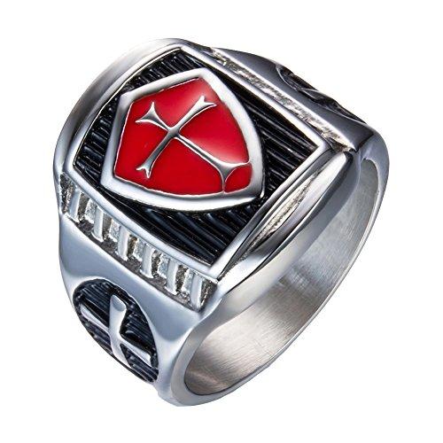 LILILEO Jewelry Titanium Steel Drops Cross Rings Knights Templars Red And Black Cross For Men (Titanium Drop)
