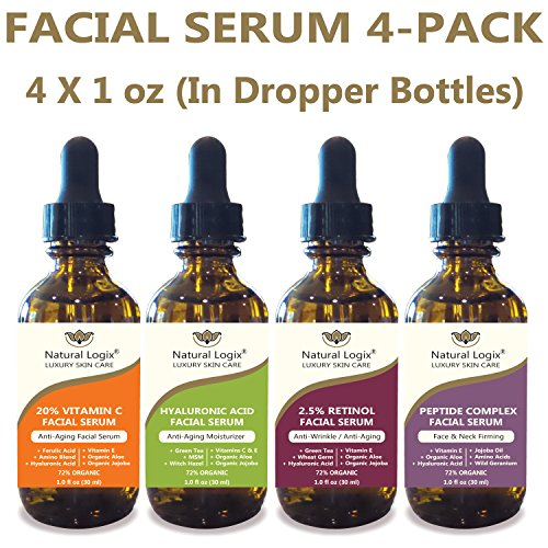 4 Bottle Serum Set – Natural Logix Anti-Aging Facial Serums - 20% VITAMIN C (1 oz) | 2.5% RETINOL (1 oz) | 5% HYALURONIC ACID (1 oz) | PEPTIDE COMPLEX (1 oz), Natural and Vegan (4 X 1 oz Droppers)