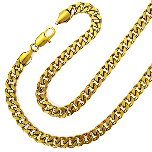 Fashion kimi2 N219a-18ct Gold Filled Cuban Link Chain Necklace for Men 7mm Width -