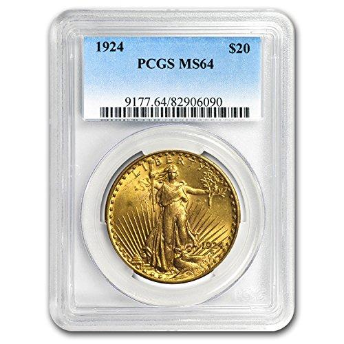(1924 $20 St. Gaudens Gold Double Eagle MS-64 PCGS G$20 MS-64)