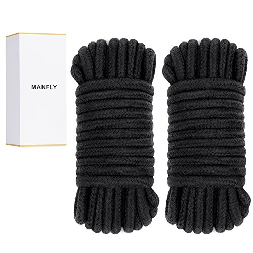 MANFLY Soft Long Cotton Multi-Function Rope,Pack of 2 x 33 Feet Durable Long DIY Dog Rope Toys, Black