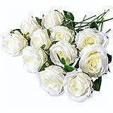 PARTY JOY Vintage Artificial Silk Rose Flower Bouquet Wedding Party Home Decor,Park of 10 (Milk White)