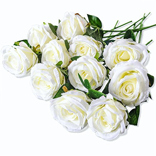 PARTY JOY Vintage Artificial Silk Rose Flower Bouquet Wedding Party Home Decor,Park of 10 (Milk ()