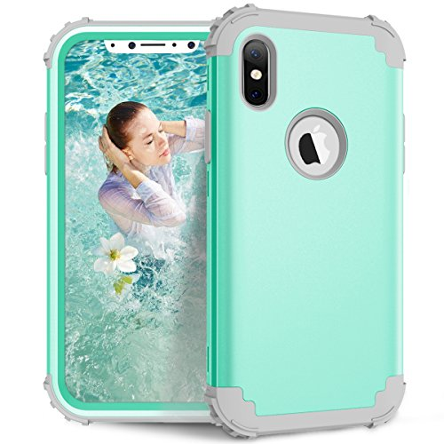 AOKER Case for iPhone X / iPhone 10, [New] [Corner Protection] [Perfect] Heavy Duty Shockproof High Impact Resistance Best Protective Case Cover for Apple iPhone X /iPhone 10 2017 (Mint Grey)