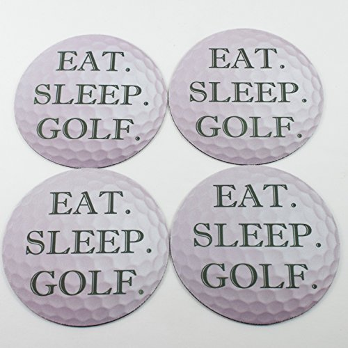 Hand Painted Golf Ball - Eat Sleep Golf Ball Neoprene Coasters (Set of 4)