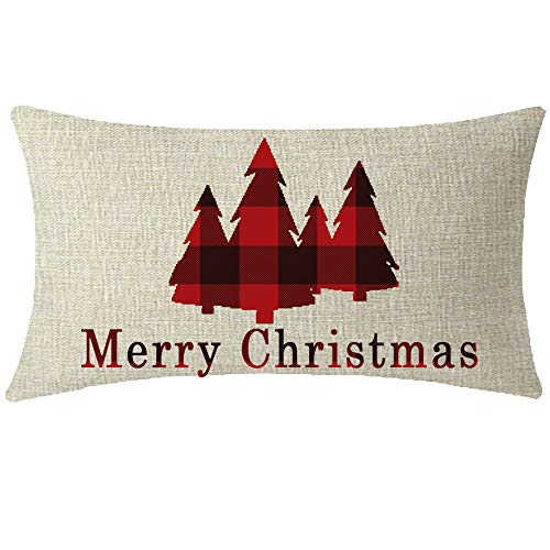 NIDITW Sister Vintage Black Red Buffalo Checkers Plaids Merry Christmas Tree Lumbar Waist Cotton Linen Decorative Throw Pillow Cove Cushion Case Sofa Outdoor Oblong 12x20 inches (Christmas Pillow Merry)