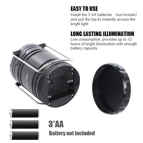 LAVAVIDA LED Camping Lantern - 2 Pack Safety Lamp Light for Emergency, Hiking, Fishing, Blackouts, Hurricanes, Storms - Portable, Collapsible, Water Resistant - Ultra Bright Flashlight - Black by LAVAVIDA (Image #3)