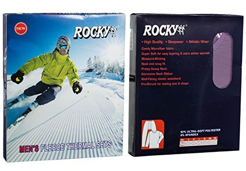 Rocky Men's Thermal Fleece Lined Long John Underwear 2pc Set (Large, Charcoal) by Rocky