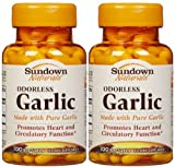 Sundown Naturals Odorless Garlic Softgels, 100 ct, 2 pk
