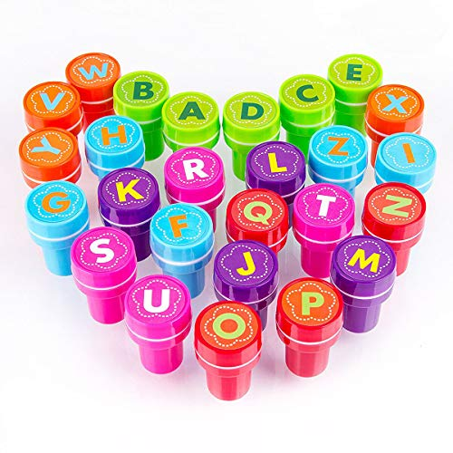 (XIAOYAO Stamps for Kids, Party Favors, 26 Pieces Assorted Stamps for Kids Self-Ink Stamps, Easter Party Favor for Kids (Letter) )