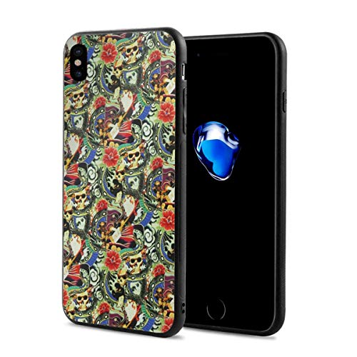 (Geisha & Skull Stretch X Phone Case Compatible with iPhone X/Xs Fun Crazy Cute Phone Case 2.9 X 5.8 Inch.)