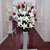 Situmi Artificial Flower Emulation Lily The Tulip Indoor Floor-To-Ceiling Vase Wedding The Home Decor Floral Arts Red