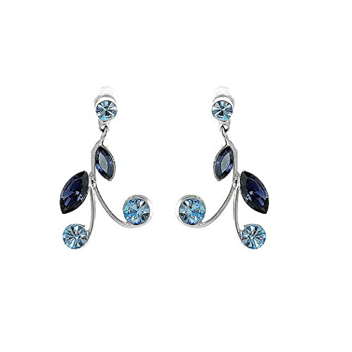 Glamorousky Blue Leaves Earrings with Blue Austrian Element Crystals 774