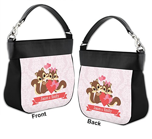 Front Chipmunk Couple Genuine w Back Personalized Hobo Purse amp; Trim Leather xZ0rwZOdTq