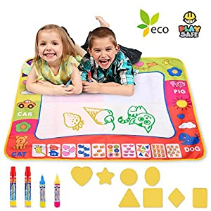 Aqua Doodle Mat Large 31.4 x 23.6in Magic Water Drawing Mat Painting Board Writing Mats With 4 Pens 8 Molds Kids Educational Learning Toy Gift for Boys Girls Toddlers Age 2 3 4 5 Year Old Toddler Toys