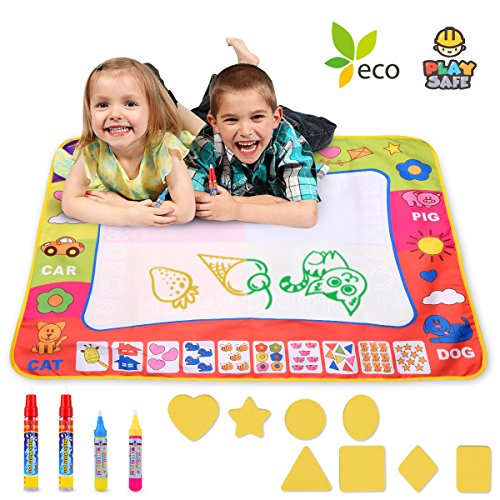 Magic Water Drawing Mat Large Doodle Mat 31.4 x 23.6in Painting Board Writing Mats With 4 Pens 8 Molds Kids Educational Learning Toy Gift for Boys Girls Toddlers Age 2 3 4 5 Year Old Toddler Toys
