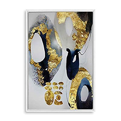 Framed Canvas Home Artwork Decoration Gold Foil Marble Canvas Wall Art for Living Room, Bedroom - 16x24 inches