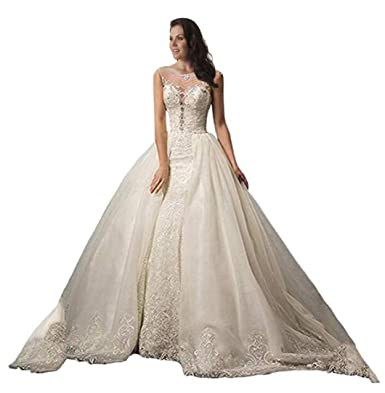 Tsbridal Detachable Train Wedding Dress Lace Mermaid Wedding Gowns