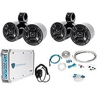 Pair Dual Polk Audio 6.5 600w Marine Boat Wakeboard Speakers+Amplifier+Amp Kit