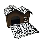 Dog Bed Attached To Human Bed - Auwer Lovely Pet Dog House Teddy Puppy Cat Indoor Bed Soft Warm Cushion Kennel Waterproof Bottom Cave Bag Nest Hiding Kitten Shelter Plush Cozy Mat Pad Blanket