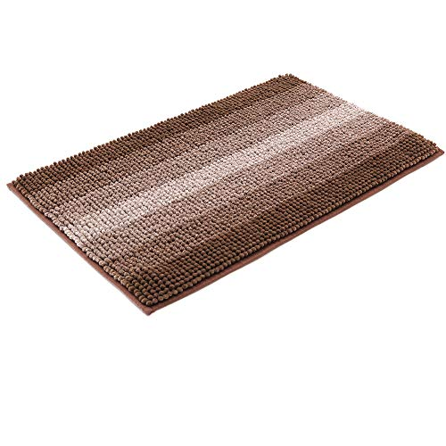 - 28x18 Inch Bath Rugs Made of 100% Polyester Extra Soft and Non Slip Bathroom Mats Specialized in Machine Washable and Water Absorbent Shower Mat,Brown