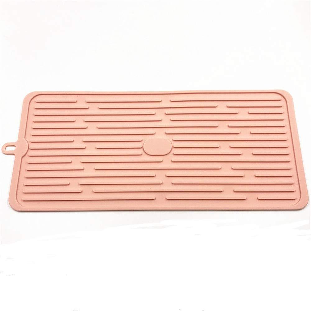 certainPL シリコンディッシュマット 17×8インチ 特大 食器乾燥パッド カウンタートップマット 食器水切りマット シンクマット 抗菌 耐熱 五徳  ピンク B07JCQ5557