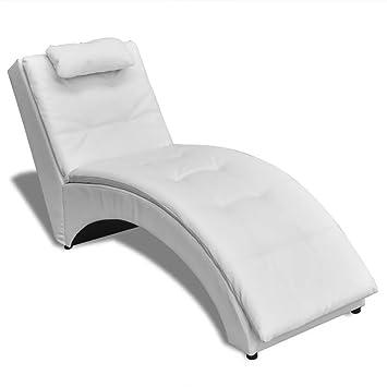 Tête Vidaxl Blanc Salon En Avec Cuir Chaise De Longue Artificiel Appui bf76gy