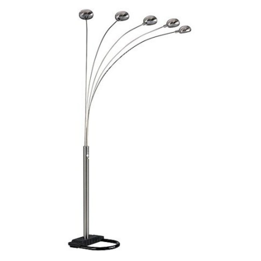 84 Inch Sleek & Elegant Floor Lamp with 5 Arch Lights For Contemporary Living Room, Nickel Finish
