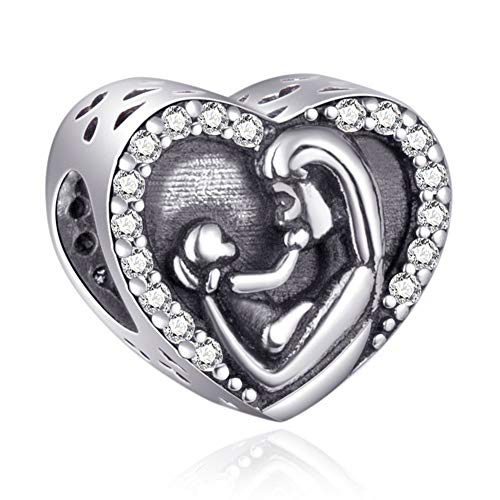 EMOSTAR Mother Baby Charms fits Pandora Charm Bracelets, 925 Sterling Silver Mom Love Baby Heart Beads with CZ Birthstones, Gifts for Mothers Day