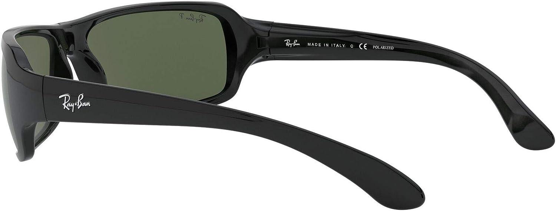 Ray Ban Lunettes de soleil sport Wrap en noir Crystal vert polarisé RB4075 60158 61