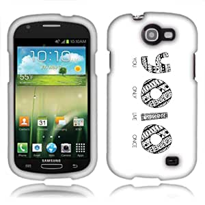 Fincibo (TM) Samsung Galaxy Express I437 Protector Cover Case Snap On Hard Plastic - You Only Live Once Yolo, Front And Back