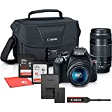 Canon EOS Rebel T6 Digital SLR Camera with 18-55mm EF-S f/3.5-5.6 IS II + EF 75-300mm f/4-5.6 III Lens + 48GB SD Card Memory + Travel Protective Carrying Shoulder Case + Microfiber Cleaning Cloth