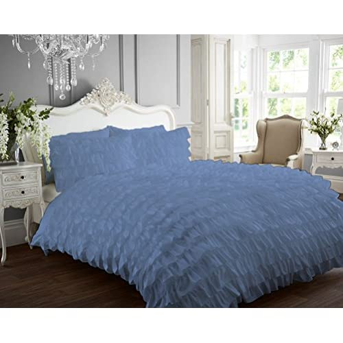 Discount Kotton Culture Ruffle Duvet Cover 100% Egyptian Cotton 400 Thread Count Luxurious (Ruffle Duvet Cover with Zipper Closure) Solid By (Mediterranean Blue, Full) free shipping