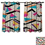 RuppertTextile Indie Bedroom Thermal Blackout Curtains Eighties Memphis Fashion Style Geometric Abstract Colorful
