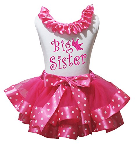 Petitebella Bling Big Sister White Shirt Hot Pink Dots Petal Skirt Outfit Nb-8y (6-8 Years) (Sister Bling)