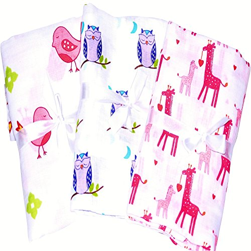 3 Pack Soft & Breathable Baby Swaddle For Deeper Sleep. Cute Pink Durable Receiving, Swaddling Blankets. Calms Cranky Newborn Girls. A Baby Shower Gifts, Holiday Gifts.