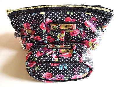 Amazon.com : Betsey Johnson Cosmetic Bag Case Black Polka Floral ...