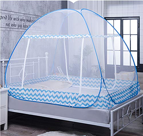HCMPM Mosquito net Double Door yurt pop-up Bed Bold Account Yarn Free Installation Collapsible for Baby Adult Home Dormitory Single Bed Mosquito net,SkyBlue,120200cm
