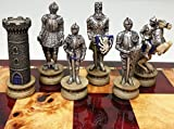 Medieval Times Crusades Gold & Silver Armored Warrior Knights Chess Set High Cherry & Burlwood Color Gloss Storage Board 17