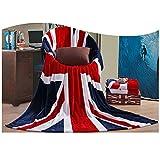 (US) Bluestar Soft Flannel Throw Blanket for Bedroom Living Rooms Sofa, US flag and British flag Patterns Warm Blanket (UK Flag)