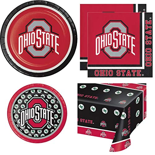 Ohio State Buckeyes Party Supplies, Serves 16 Guests, Dinner Plates, Dessert Plates, Large Napkins, Plastic Table Cover, Wildflower Party Planner -