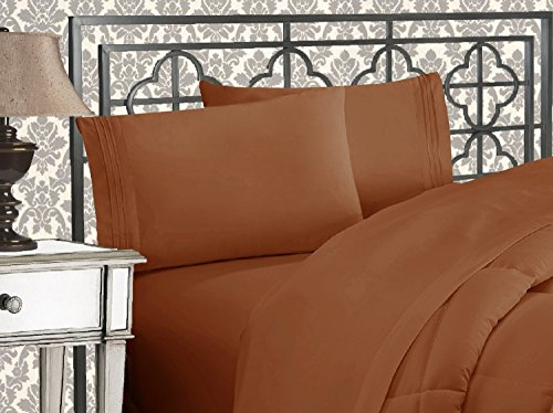 (Elegant Comfort Luxurious & Softest 1500 Thread Count Egyptian Three Line Embroidered Softest Premium Hotel Quality 4-Piece Bed Sheet Set, Wrinkle and Fade Resistant, Queen, Bronze)