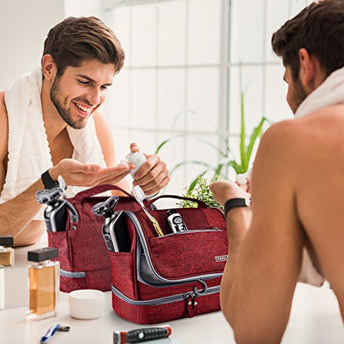 Toiletry Bag Hanging Travel Toiletry Organizer Kit with Hook and Handle Waterproof Cosmetic Bag Dop Kit for Men or Women (Wine Red) by NICEPACK (Image #5)