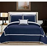 Chic Home 8 Piece Mesa Hotel Collection 2 Tone Banded Quilted Geometrical Embroidered, Quilt In A Bag, Includes Sheets Set Quilt Set Shams And Decorative Pillows Included, King, Navy