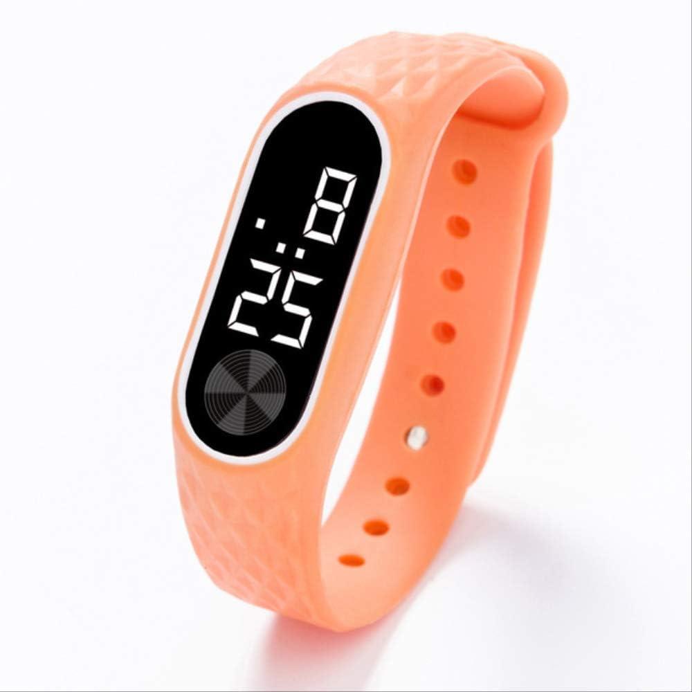 Relojes para niños Reloj Deportivo Digital para niños Reloj para niños Niñas Hombres Mujeres Pulsera electrónica de Silicona Reloj de Pulsera Talla única Naranja Blanco